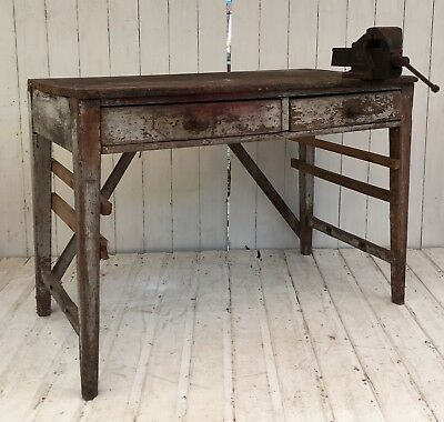 Antique Industrial Solid Oak Scrub Top Dining Table Rustic Work Bench Desk