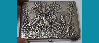Russian 84 silver CIGARETTE CASE handmade-chased Morning in the Pine-Tree Forest