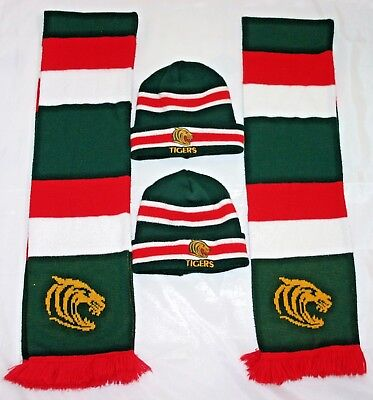 LEICESTER TIGERS - RUGBY *  2 x SCARF`S  +  2 x BEANIE HATS =  ONE SIZE