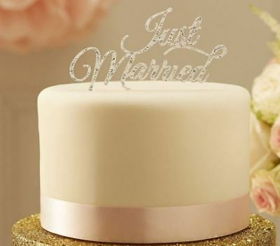 Just Married Sparkling Silver Wedding Cake Topper GINGER RAY Silver Cake Topper