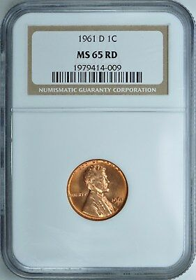 1961-D LINCOLN MEMORIAL CENT PENNY 1c #009 NGC MS65RD