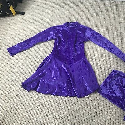 Girls Purple Velvet Ice Skating Dress and Bag , Age 9-10