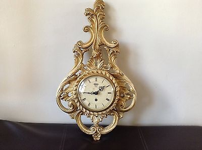 Rare Vintage Smiths starburst sunburst Rococo Style Gilt Wood Cartel Wall Clock