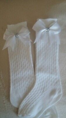 BN Girls Classic Knee Length Socks with Bows size 3-5.5  (age1-2)
