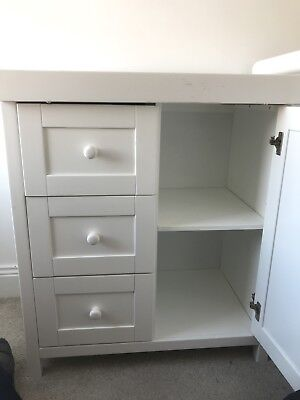 White Baby Changing Dresser Station Unit With 3 Drawers And Cupboard