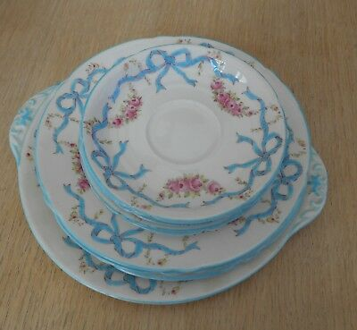"SHELLEY # 13286  ""RIBBONS & ROSES"" PORCELAIN PLATES ETC.  EARLY 1900s  BOUQUET"