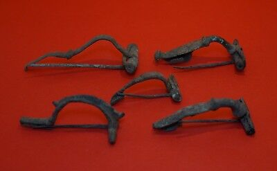 Lot Of 5 Pieces Ancient Roman Celtic Bronze Fibula Brooch - Complete! Rare!