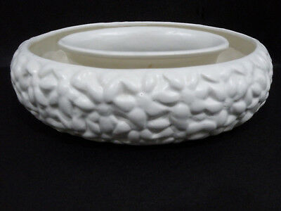 "Diana white oval Trough Vase, embossed pattern vgc (8 7/8"" x 6 3/4"")"