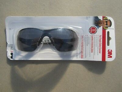 Free Ship, 3M Safety Glasses Black/Gray Flat Temple Frame with Grey Tinted Lens