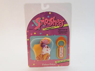 Vintage Fisher Price Smooshees Smugglers Clip On Scooter Pup 1988 Soft Toy Dog