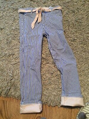 H & M Designer LOGG Girls Striped turn Up  Trousers  Size 116