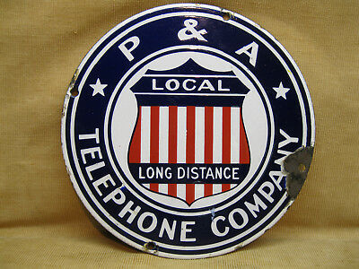 Pre 1924 Pittsburgh & Allegheny Telephone Co Porcelain Sign Rare Old Sign