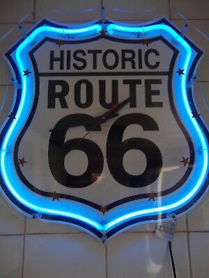 large Neon Lighted Face Wall Clock Kitchen Office Man Cave ROUTE 66