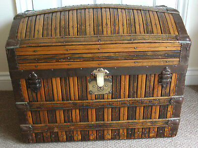 Victorian Dome Top Slatted Oak Steamer Trunk. Original Fittings.