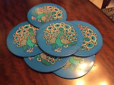 Vintage Set Of Six Round Place Mats From 1970