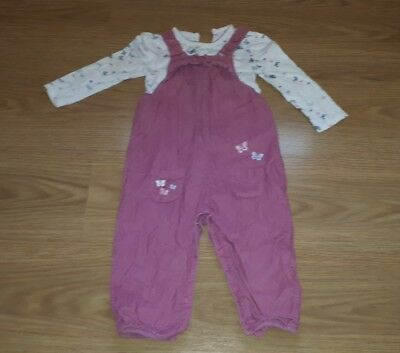Toddler Girls Pink Corduroy Butterfly Dungaree top set 18-24 months Autumn
