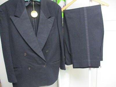 Vtg Mens Black Wool Tuxedo Double Breasted 1940-50 After Six Rudofker