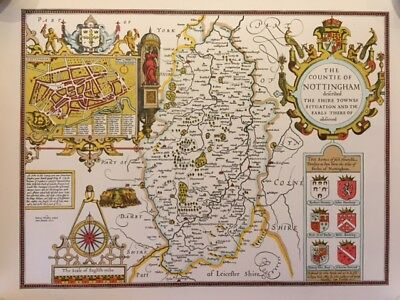1610 Map Of Nottinghamshire - Illustrated - Reproduction Of John Speede Map