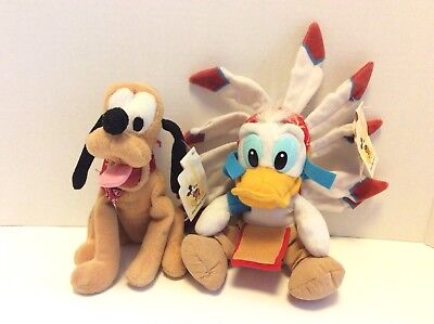 Disney Parks Frontierland Donald Duck and Pluto Bean Bag Plush Stuffed Toy 8in