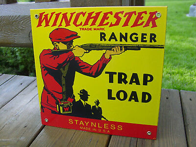 Winchester Ranger Trap Load Porcelain Advertisiing Sign  Hard To Find