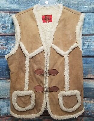 Mens Sherpa Vest PYPSA Suede Fleece Lined L 44 Tan Mexico 70-80s