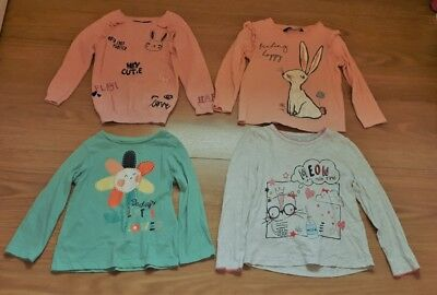 Toddler Girls Small Autumn Long sleeved tops bundle 4 tops 18-24 months cats etc