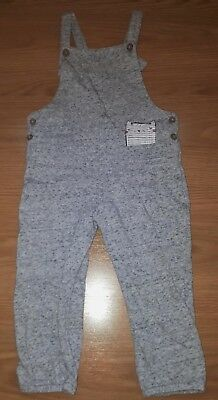BNWOT Toddler Girls Grey Cat Cotton Full Dungarees 18-24 months 1.5-2 years