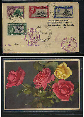 Gilbert and Ellice 40-42, 45 on registered post card  1947             AT0604