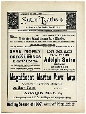 6/27/1897 San Francisco Sutro Baths Bathhouse~Antique Swimming Event Program