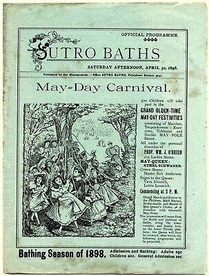 "4/30/1898 San Francisco Sutro Baths Bathhouse~Antique ""may-Day Carnival"" Program"