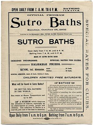 10/18/1903 San Francisco Sutro Baths Bathhouse~Antique Swimming Event Program