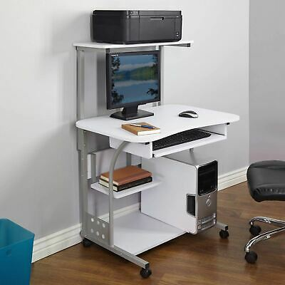 White Mobile Computer Tower Desk Printer Shelf Laptop Table Top Home Office Cart