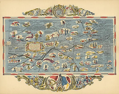 1936 Pictorial Map Kansas Wall Art Poster Print Decor Antique Old History