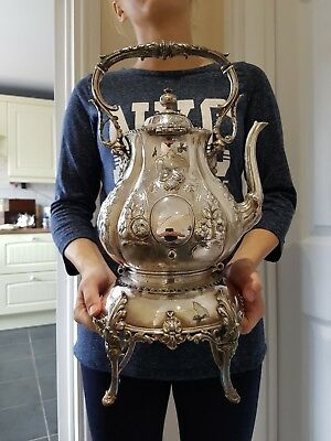 Superb Victorian Very Large  Silver Plate Spirit Kettle & Stand