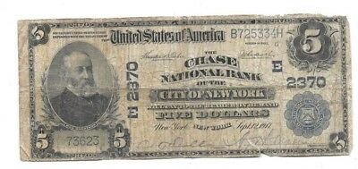 1902 $5 Large Chase National Bank Of The City Of New York