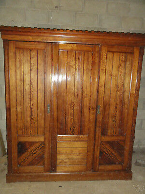 Large antique Victorian 3 door fitted gothic revival wardrobe in pitch pine