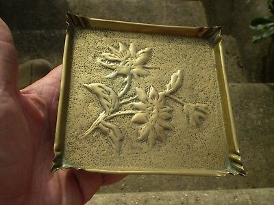 Small Brass Arts & Crafts Floral Decorated Stand / Tray