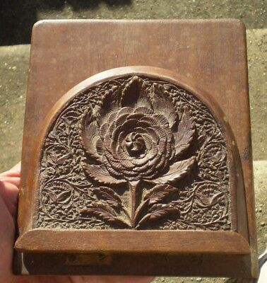 19th Century Carved Floral Wooden Book End