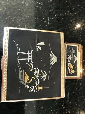 Japanese Mount Fuji Silver And Gold Cigarette Case And Lighter