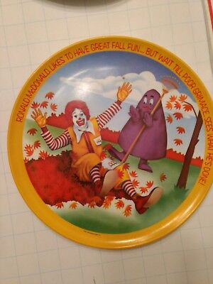 Vintage Ronald McDonald with Grimace Plate 1977