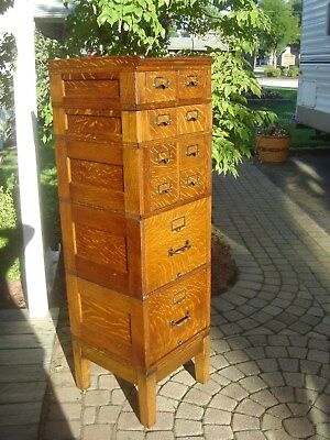 "Antique Qsawn OAK ""YAWMAN&ERBE Card Catalog 10 Drawer Refinished ""FREE"" Shipping"