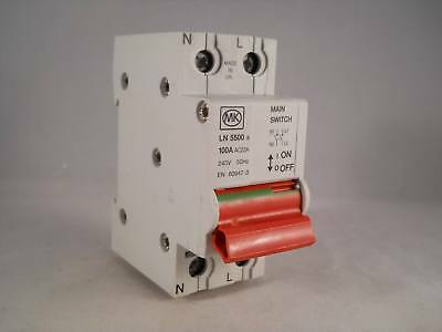 MK 100 Amp Main Switch Disconnector 100A Double Pole Isolator Sentry LN5500S