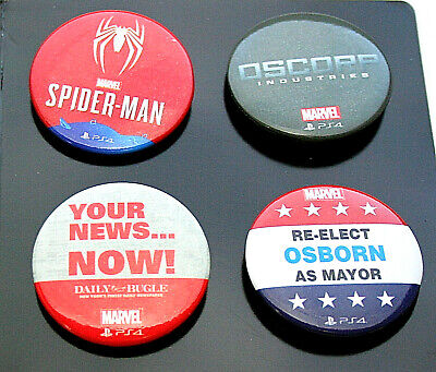 Rare Promo Marvel Comics PS4 Spider-man Game Swag 4 Pin Button Set New