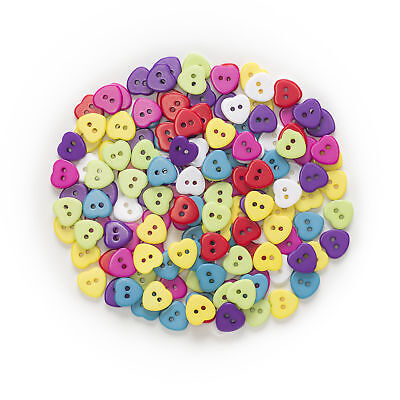 Lot 50 bouton coeur 11mm multicolor melange 2 trou couture mercerie scrapbooking
