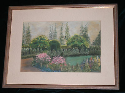 Original Vintage Early 20th century painting English country garden Signed