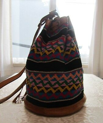 Unique Woven and Leather Bag Hand Made in Guatemala by Artisans