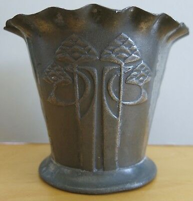 "Art Nouveau Embossed Small 3¾"" Pot / Vase Stamped English Pewter 0527 P Damaged"
