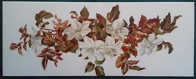 Hand Painted Opaque Glass Panel Foliage and Floral Design