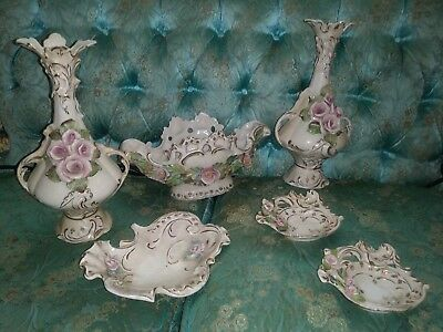 Vintage 6 Piece Hollywood Regency Era Cordey/corday Porcelain W/ Roses And Gold