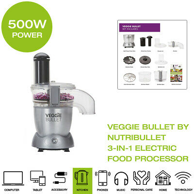 New Veggie Bullet by NutriBullet Electric Food Processor 3-in-1